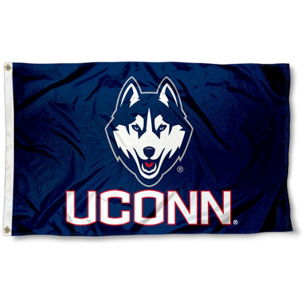 UCONN Huskies 3x5 Flag measures 3'x5', is made of 100% poly, has quadruple stitched sewing, two metal grommets, and has double sided University of Connecticut logos. Our UCONN Huskies 3x5 Flag is officially licensed by University of Connecticut and the NCAA.