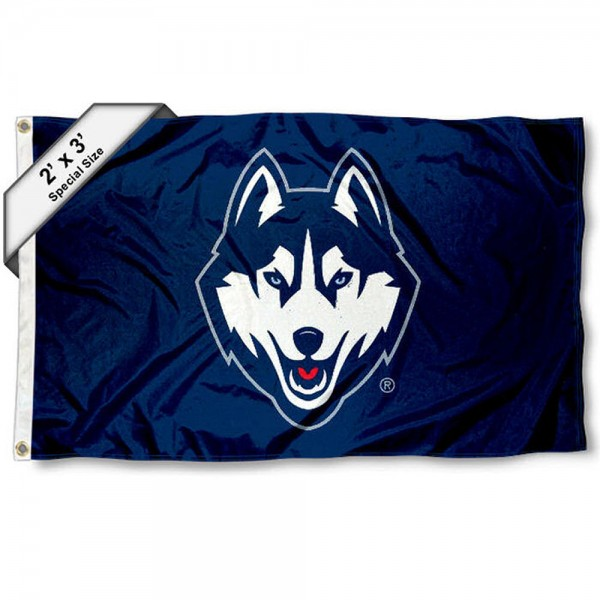 UCONN Small 2'x3' Flag measures 2x3 feet, is made of 100% polyester, offers quadruple stitched flyends, has two brass grommets, and offers printed UCONN logos, letters, and insignias. Our 2x3 foot flag is Officially Licensed by the selected university.