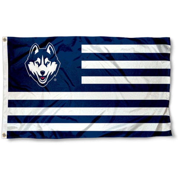 UCONN Striped Alumni Nation Flag measures 3'x5', is made of polyester, offers double stitched flyends for durability, has two metal grommets, and is viewable from both sides with a reverse image on the opposite side. Our UCONN Striped Alumni Nation Flag is officially licensed by the selected school university and the NCAA.