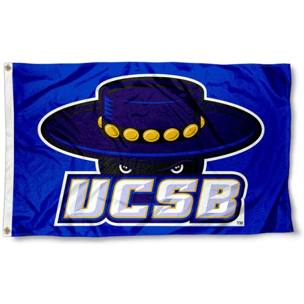 UCSB Gauchos Blue Flag measures 3x5 feet, is made of 100% polyester, offers quadruple stitched flyends, has two metal grommets, and offers screen printed NCAA team logos and insignias. Our UCSB Gauchos Blue Flag is officially licensed by the selected university and NCAA.