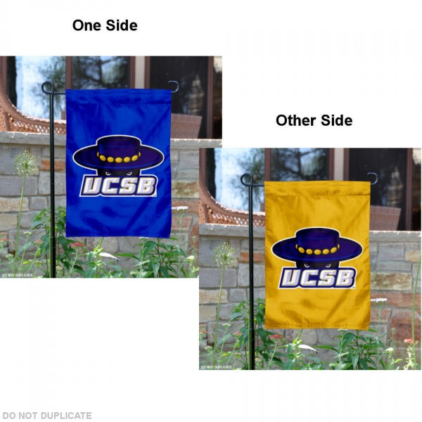 UCSB Gauchos Double Logo Garden Flag is 13x18 inches in size, is made of 2-layer polyester, screen printed university athletic logos and lettering. Available with Same Day Express Shipping, our UCSB Gauchos Double Logo Garden Flag is officially licensed and approved by the university and the NCAA.