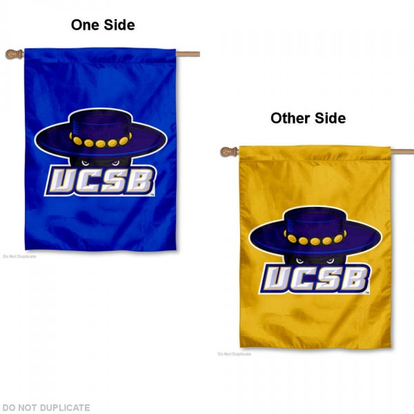 UCSB Gauchos Double Logo House Flag is a vertical house flag which measures 30x40 inches, is made of 2 ply 100% polyester, offers screen printed NCAA team insignias, and has a top pole sleeve to hang vertically. Our UCSB Gauchos Double Logo House Flag is officially licensed by the selected university and the NCAA.