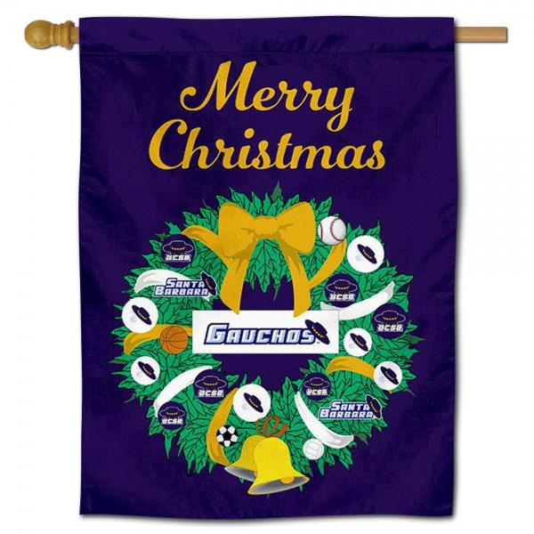 UCSB Gauchos Happy Holidays Banner Flag measures 30x40 inches, is made of poly, has a top hanging sleeve, and offers dye sublimated UCSB Gauchos logos. This Decorative UCSB Gauchos Happy Holidays Banner Flag is officially licensed by the NCAA.