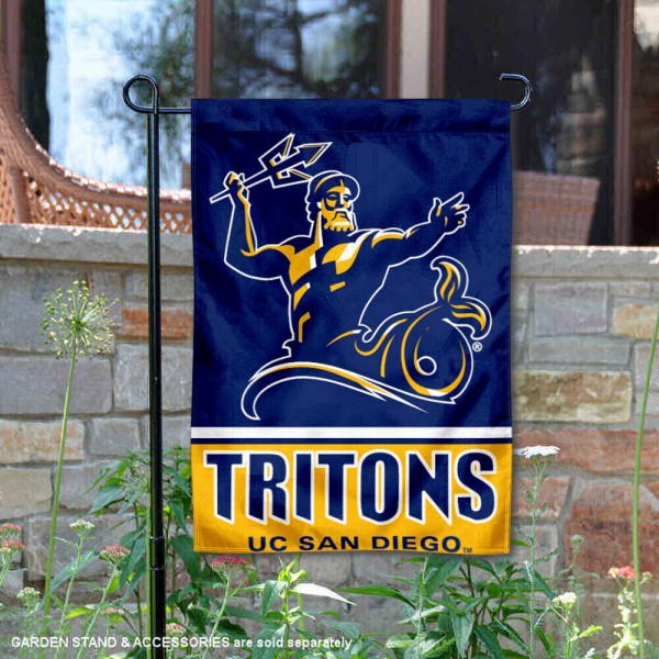 UCSD Tritons Garden Flag is 13x18 inches in size, is made of 2-layer polyester, screen printed logos and lettering. Available with Same Day Express Shipping, Our UCSD Tritons Garden Flag is officially licensed and approved by the NCAA.