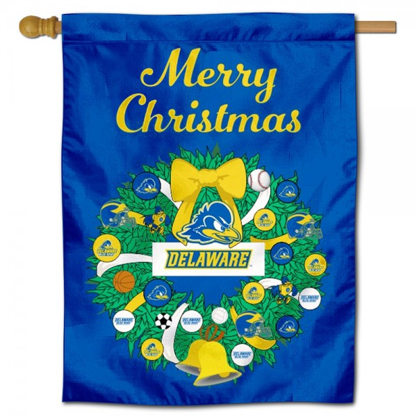 UD Blue Hens Happy Holidays Banner Flag measures 30x40 inches, is made of poly, has a top hanging sleeve, and offers dye sublimated UD Blue Hens logos. This Decorative UD Blue Hens Happy Holidays Banner Flag is officially licensed by the NCAA.