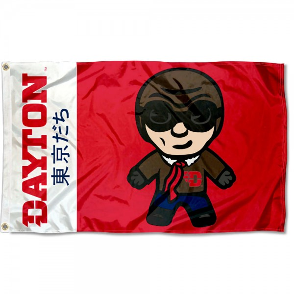 UD Flyers Kawaii Tokyo Dachi Yuru Kyara Flag measures 3x5 feet, is made of 100% polyester, offers quadruple stitched flyends, has two metal grommets, and offers screen printed NCAA team logos and insignias. Our UD Flyers Kawaii Tokyo Dachi Yuru Kyara Flag is officially licensed by the selected university and NCAA.