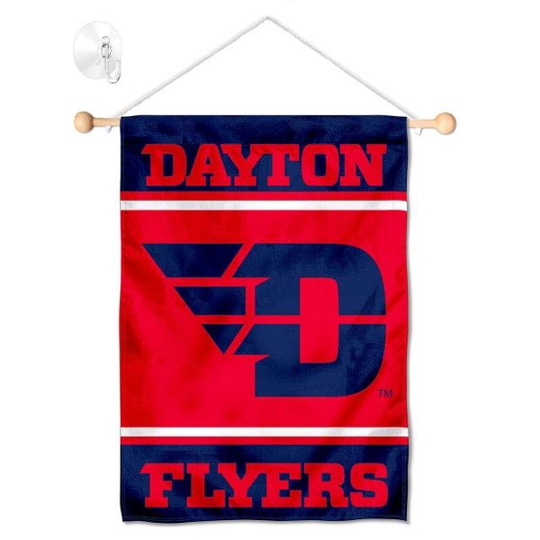 """UD Flyers Window and Wall Banner kit includes our 13""""x18"""" garden banner which is made of 2 ply poly with liner and has screen printed licensed logos. Also, a 17"""" wide banner pole with suction cup is included so your UD Flyers Window and Wall Banner is ready to be displayed with no tools needed for setup. Fast Overnight Shipping is offered and the flag is Officially Licensed and Approved by the selected team."""