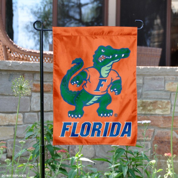 UF Gators Albert Mascot Garden Flag is 13x18 inches in size, is made of 2-layer polyester, screen printed University of Florida athletic logos and lettering. Available with Same Day Express Shipping, Our UF Gators Albert Mascot Garden Flag is officially licensed and approved by University of Florida and the NCAA.