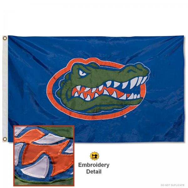 UF Gators Nylon Embroidered Flag measures 3'x5', is made of 100% nylon, has quadruple flyends, two metal grommets, and has double sided appliqued and embroidered University logos. These UF Gators 3x5 Flags are officially licensed by the selected university and the NCAA.