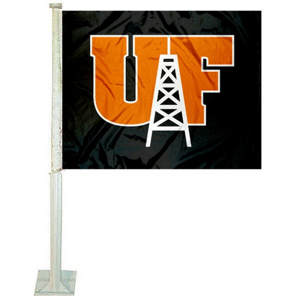 UF Oilers Logo Car Flag measures 12x15 inches, is constructed of sturdy 2 ply polyester, and has screen printed school logos which are readable and viewable correctly on both sides. UF Oilers Logo Car Flag is officially licensed by the NCAA and selected university.