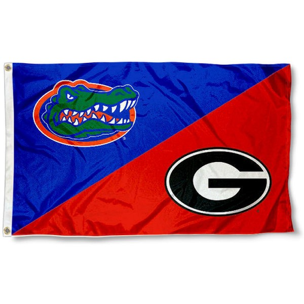 UF vs UGA House Divided 3x5 Flag sizes at 3x5 feet, is made of 100% polyester, has quadruple-stitched fly ends, and the university logos are screen printed into the UF vs UGA House Divided 3x5 Flag. The UF vs UGA House Divided 3x5 Flag is approved by the NCAA and the selected universities.