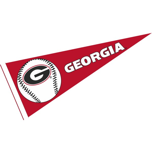 UGA Bulldogs Baseball Pennant consists of our full size sports pennant which measures 12x30 inches, is constructed of felt, is single sided imprinted, and offers a pennant sleeve for insertion of a pennant stick, if desired. This UGA Bulldogs Pennant Decorations is Officially Licensed by the selected university and the NCAA.
