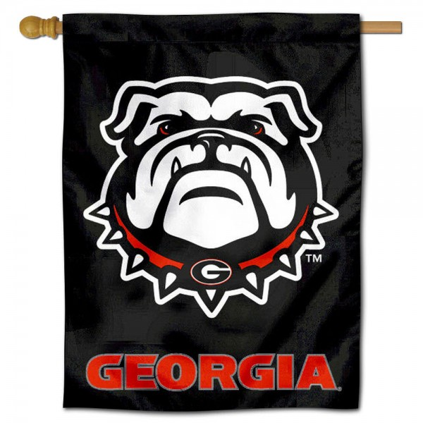 "UGA Bulldogs Black Banner Flag is constructed of polyester material, is a vertical house flag, measures 30""x40"", offers screen printed athletic insignias, and has a top pole sleeve to hang vertically. Our UGA Bulldogs Black Banner Flag is Officially Licensed by University of Georgia and NCAA."