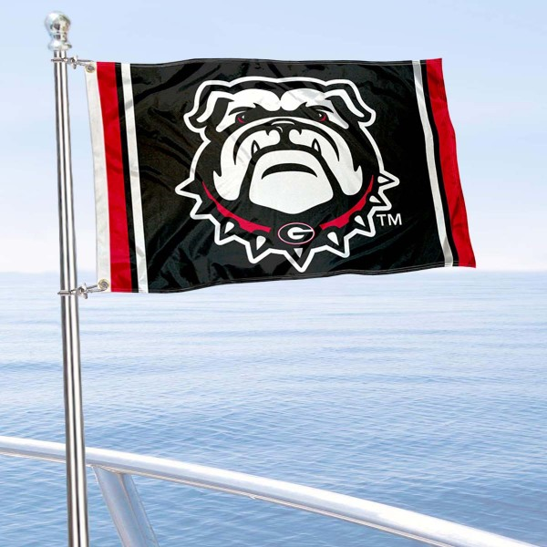 UGA Bulldogs Black Boat Flag is 12x18 inches, nylon, offers quadruple stitched flyends for durability, has two metal grommets, and is double sided. Our mini flags for UGA Bulldogs are licensed by the university and NCAA and can be used as a boat flag, motorcycle flag, golf cart flag, or ATV flag.