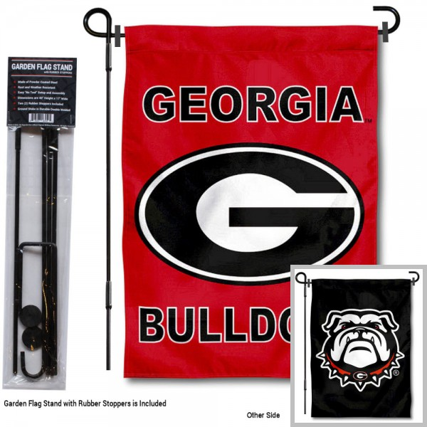 "UGA Bulldogs Double Sided Logo Garden Flag and Stand kit includes our 13""x18"" garden banner which is made of 2 ply poly with liner and has screen printed licensed logos. Also, a 40""x17"" inch garden flag stand is included so your UGA Bulldogs Double Sided Logo Garden Flag and Stand is ready to be displayed with no tools needed for setup. Fast Overnight Shipping is offered and the flag is Officially Licensed and Approved by the selected team."