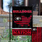 UGA Bulldogs Garden Flag with USA Country Stars and Stripes
