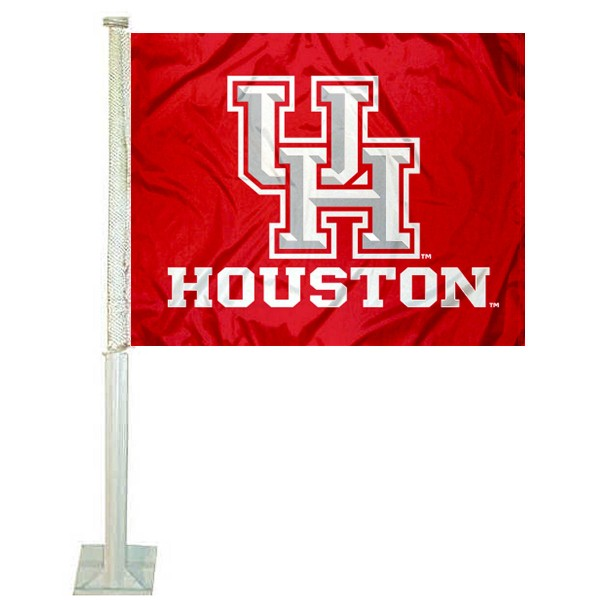 UH Cougars Logo Car Flag measures 12x15 inches, is constructed of sturdy 2 ply polyester, and has screen printed school logos which are readable and viewable correctly on both sides. UH Cougars Logo Car Flag is officially licensed by the NCAA and selected university.