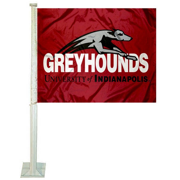 UIndy Greyhounds Logo Car Flag measures 12x15 inches, is constructed of sturdy 2 ply polyester, and has screen printed school logos which are readable and viewable correctly on both sides. UIndy Greyhounds Logo Car Flag is officially licensed by the NCAA and selected university.