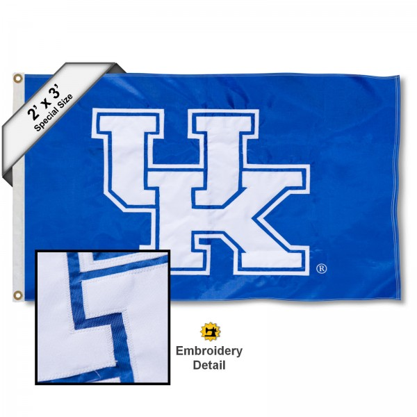 UK Small 2'x3' Flag measures 2x3 feet, is made of 100% nylon, offers quadruple stitched flyends, has two brass grommets, and offers embroidered UK logos, letters, and insignias. Our UK Small 2'x3' Flag is Officially Licensed by the selected university.