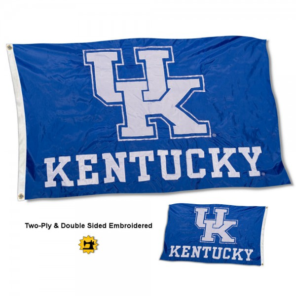 UK Wildcats New Logo Embroidered Flag measures 3'x5' in size, is made of 2 layer embroidered 100% nylon, has quadruple stitched fly ends for durability, and is viewable and readable correctly on both sides. Our UK Wildcats New Logo Embroidered Flag is officially licensed by the university, school, and the NCAA