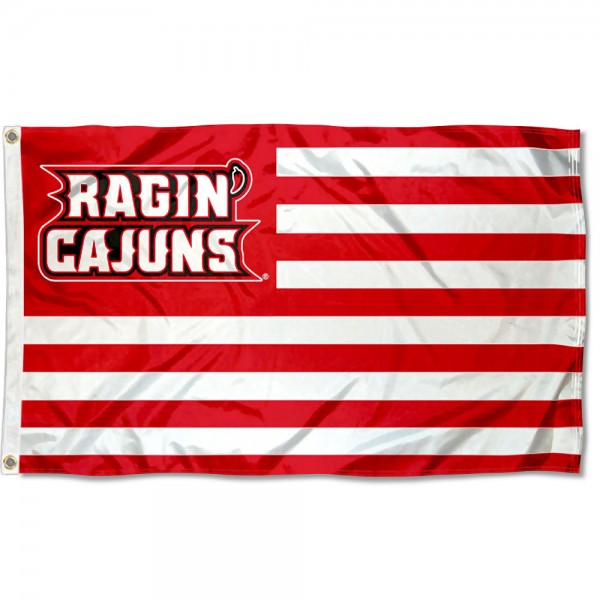 UL Lafayette Ragin Cajuns Stripes Flag measures 3'x5', is made of polyester, offers double stitched flyends for durability, has two metal grommets, and is viewable from both sides with a reverse image on the opposite side. Our UL Lafayette Ragin Cajuns Stripes Flag is officially licensed by the selected school university and the NCAA.