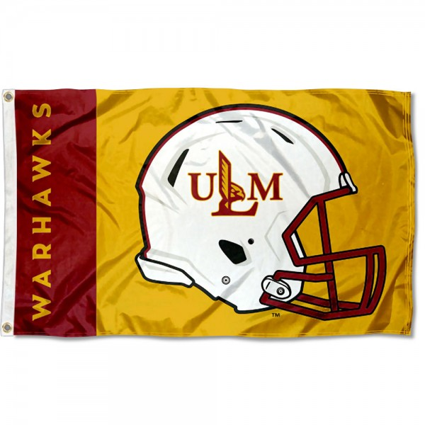 UL Monroe Warhawks Football Helmet Flag measures 3x5 feet, is made of 100% polyester, offers quadruple stitched flyends, has two metal grommets, and offers screen printed NCAA team logos and insignias. Our UL Monroe Warhawks Football Helmet Flag is officially licensed by the selected university and NCAA.
