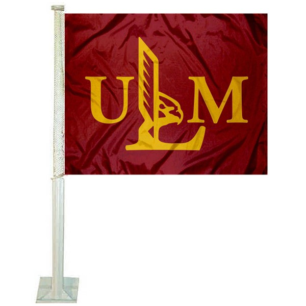 UL Monroe Warhawks Logo Car Flag measures 12x15 inches, is constructed of sturdy 2 ply polyester, and has screen printed school logos which are readable and viewable correctly on both sides. UL Monroe Warhawks Logo Car Flag is officially licensed by the NCAA and selected university.