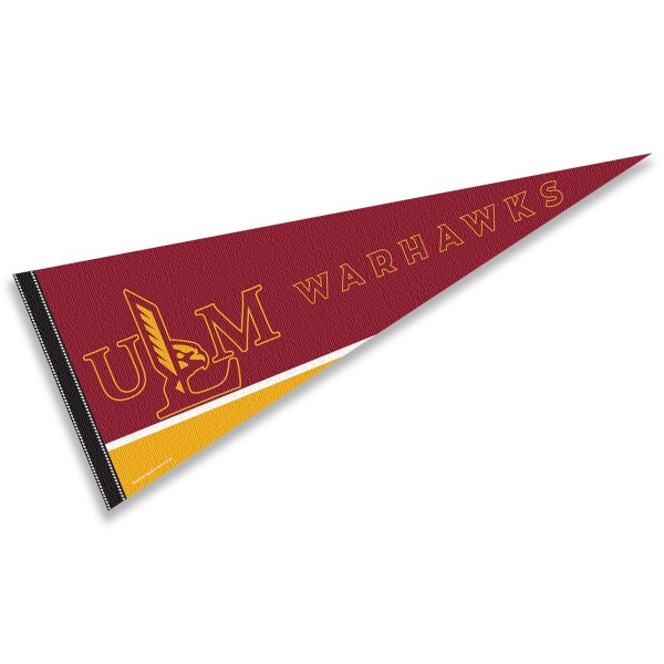 ULM Warhawks Decorations consists of our full size pennant which measures 12x30 inches, is constructed of felt, is single sided imprinted, and offers a pennant sleeve for insertion of a pennant stick, if desired. This ULM Warhawks Decorations is officially licensed by the selected university and the NCAA.