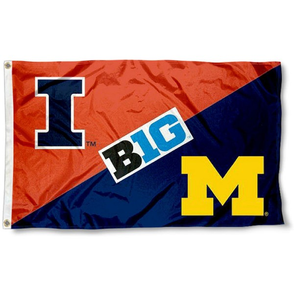 UM Wolverines vs. Illinois House Divided 3x5 Flag sizes at 3x5 feet, is made of 100% polyester, has quadruple-stitched fly ends, and the university logos are screen printed into the UM Wolverines vs. Illinois House Divided 3x5 Flag. The UM Wolverines vs. Illinois House Divided 3x5 Flag is approved by the NCAA and the selected universities.