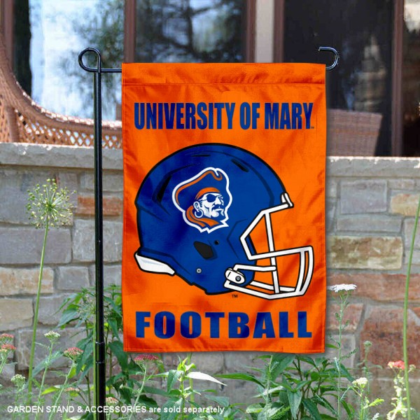 UMary Marauders Helmet Yard Garden Flag is 13x18 inches in size, is made of 2-layer polyester with Liner, screen printed university athletic logos and lettering, and is readable and viewable correctly on both sides. Available same day shipping, our UMary Marauders Helmet Yard Garden Flag is officially licensed and approved by the university and the NCAA.