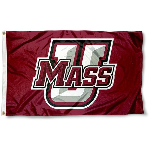 UMASS Minutemen Logo Flag measures 3'x5', is made of 100% poly, has quadruple stitched sewing, two metal grommets, and has double sided Team University logos. Our UMASS Minutemen 3x5 Flag is officially licensed by the selected university and the NCAA.