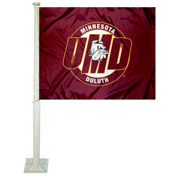 UMD Bulldogs Car Window Flag measures 12x15 inches, is constructed of sturdy 2 ply polyester, and has dye sublimated school logos which are readable and viewable correctly on both sides. UMD Bulldogs Car Window Flag is officially licensed by the NCAA and selected university.