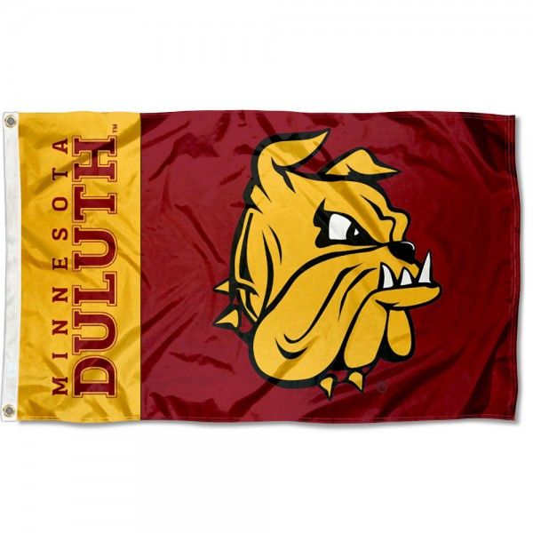 UMD Bulldogs New Logo Flag measures 3x5 feet, is made of 100% polyester, offers quadruple stitched flyends, has two metal grommets, and offers screen printed NCAA team logos and insignias. Our UMD Bulldogs New Logo Flag is officially licensed by the selected university and NCAA.