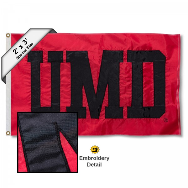 UMD Small 2'x3' Flag measures 2x3 feet, is made of 100% nylon, offers quadruple stitched flyends, has two brass grommets, and offers embroidered UMD logos, letters, and insignias. Our UMD Small 2'x3' Flag is Officially Licensed by the selected university.