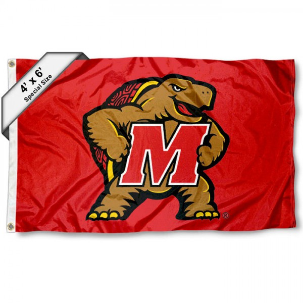 UMD Terrrapins Large 4x6 Flag measures 4x6 feet, is made thick woven polyester, has quadruple stitched flyends, two metal grommets, and offers screen printed NCAA UMD Terrrapins Large athletic logos and insignias. Our UMD Terrrapins Large 4x6 Flag is officially licensed by UMD Terrrapins and the NCAA.