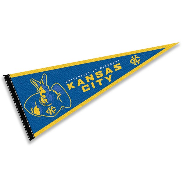 UMKC Roos Pennant consists of our full size sports pennant which measures 12x30 inches, is constructed of felt, is single sided imprinted, and offers a pennant sleeve for insertion of a pennant stick, if desired. This UMKC Roos Felt Pennant is officially licensed by the selected university and the NCAA.