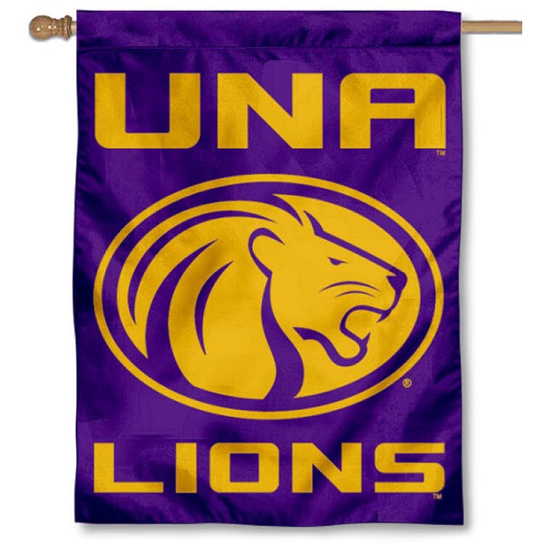 UNA Lions Banner Flag is a vertical house flag which measures 30x40 inches, is made of 2 ply 100% polyester, offers screen printed NCAA team insignias, and has a top pole sleeve to hang vertically. Our UNA Lions Banner Flag is officially licensed by the selected university and the NCAA.