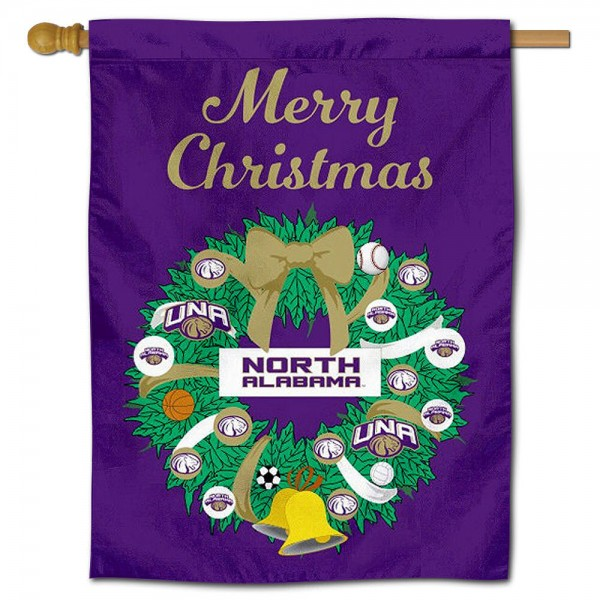UNA Lions Happy Holidays Banner Flag measures 30x40 inches, is made of poly, has a top hanging sleeve, and offers dye sublimated UNA Lions logos. This Decorative UNA Lions Happy Holidays Banner Flag is officially licensed by the NCAA.