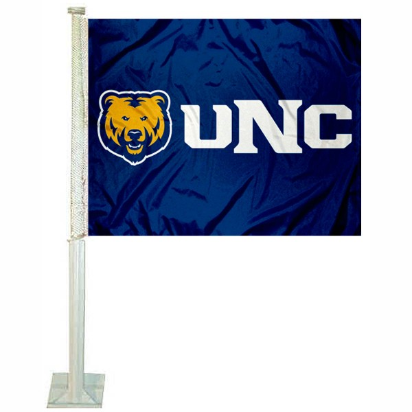 UNC Bears New Logo Car Flag measures 12x15 inches, is constructed of sturdy 2 ply polyester, and has screen printed school logos which are readable and viewable correctly on both sides. UNC Bears New Logo Car Flag is officially licensed by the NCAA and selected university.