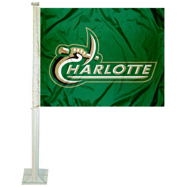 UNC Charlotte 49ers Car Window Flag measures 12x15 inches, is constructed of sturdy 2 ply polyester, and has screen printed school logos which are readable and viewable correctly on both sides. UNC Charlotte 49ers Car Window Flag is officially licensed by the NCAA and selected university.