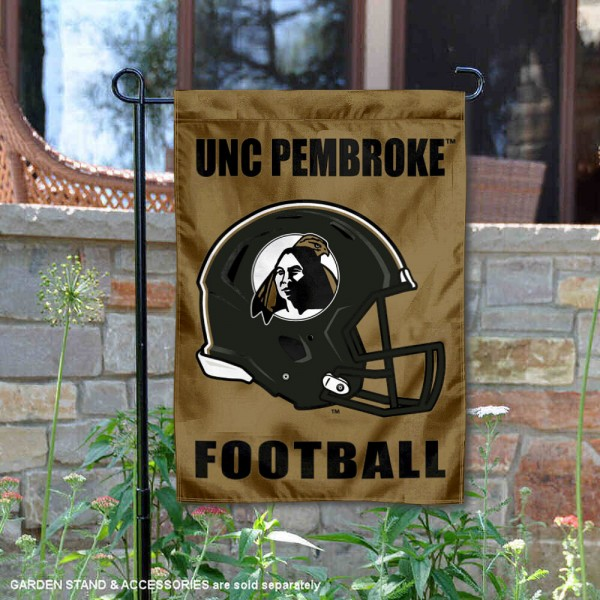 UNC Pembroke Braves Helmet Yard Garden Flag is 13x18 inches in size, is made of 2-layer polyester with Liner, screen printed university athletic logos and lettering, and is readable and viewable correctly on both sides. Available same day shipping, our UNC Pembroke Braves Helmet Yard Garden Flag is officially licensed and approved by the university and the NCAA.