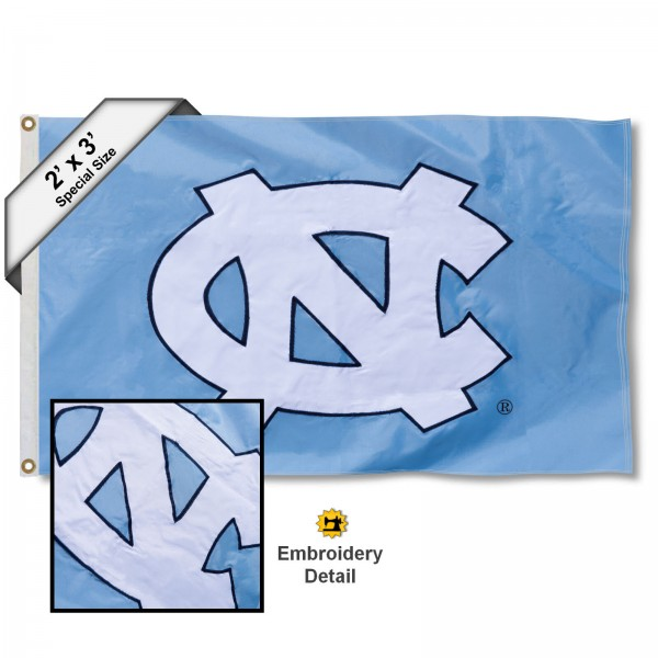 UNC Small 2'x3' Flag measures 2x3 feet, is made of 100% nylon, offers quadruple stitched flyends, has two brass grommets, and offers embroidered UNC logos, letters, and insignias. Our UNC Small 2'x3' Flag is Officially Licensed by the selected university.