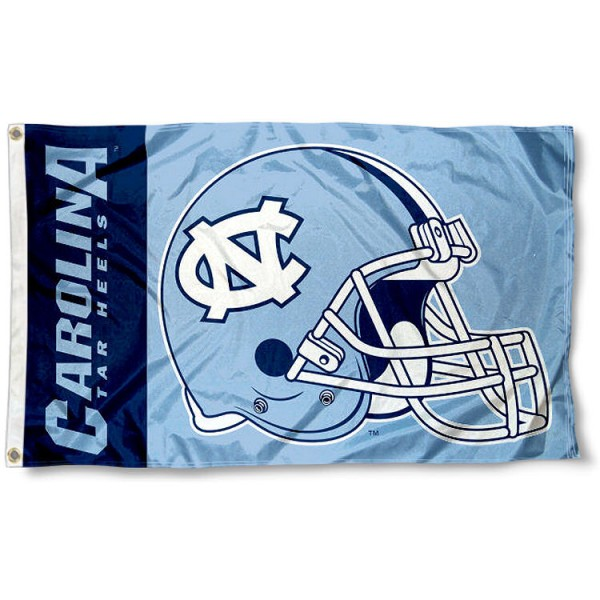 UNC Tar Heels Helmet Flag measures 3'x5', is made of 100% poly, has quadruple stitched sewing, two metal grommets, and has double sided UNC Tar Heels logos. Our UNC Tar Heels Helmet Flag is officially licensed by the selected university and the NCAA.