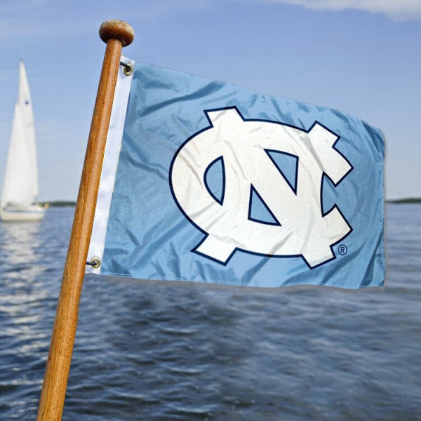 UNC Tar Heels Nautical Flag measures 12x18 inches, is made of two-ply polyesters, offers quadruple stitched flyends for durability, has two metal grommets, and is viewable from both sides. Our UNC Tar Heels Nautical Flag is officially licensed by the selected university and the NCAA and can be used as a motorcycle flag, golf cart flag, or ATV flag