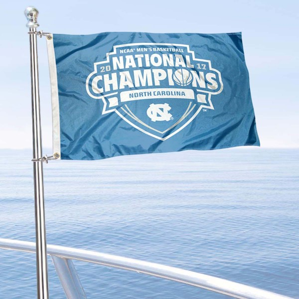 UNC Tar Heels NCAA Basketball National Champs Boat Flag is 12x18 inches, polyester, offers quadruple stitched flyends for durability, has two metal grommets, and is double sided. Our mini flags for UNC Tar Heels are licensed by the university and NCAA and can be used as a boat flag, motorcycle flag, golf cart flag, or ATV flag.