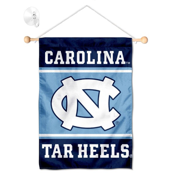 """UNC Tar Heels Window and Wall Banner kit includes our 13""""x18"""" garden banner which is made of 2 ply poly with liner and has screen printed licensed logos. Also, a 17"""" wide banner pole with suction cup is included so your UNC Tar Heels Window and Wall Banner is ready to be displayed with no tools needed for setup. Fast Overnight Shipping is offered and the flag is Officially Licensed and Approved by the selected team."""