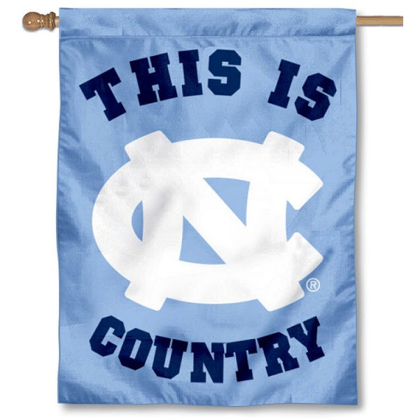 UNC This is Tar Heel Country House Flag is a vertical house flag which measures 30x40 inches, is made of 2 ply 100% polyester, offers screen printed NCAA team insignias, and has a top pole sleeve to hang vertically. Our UNC This is Tar Heel Country House Flag is officially licensed by the selected university and the NCAA.