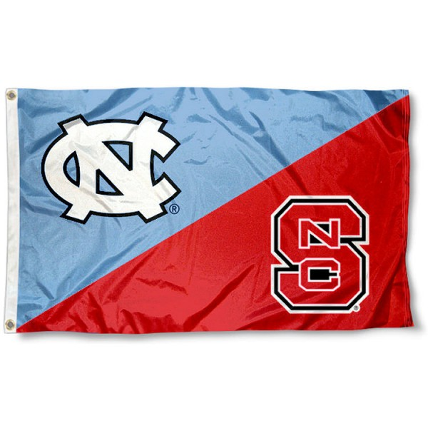 UNC vs. North Carolina State House Divided 3x5 Flag sizes at 3x5 feet, is made of 100% polyester, has quadruple-stitched fly ends, and the university logos are screen printed into the UNC vs. North Carolina State House Divided 3x5 Flag. The UNC vs. North Carolina State House Divided 3x5 Flag is approved by the NCAA and the selected universities.