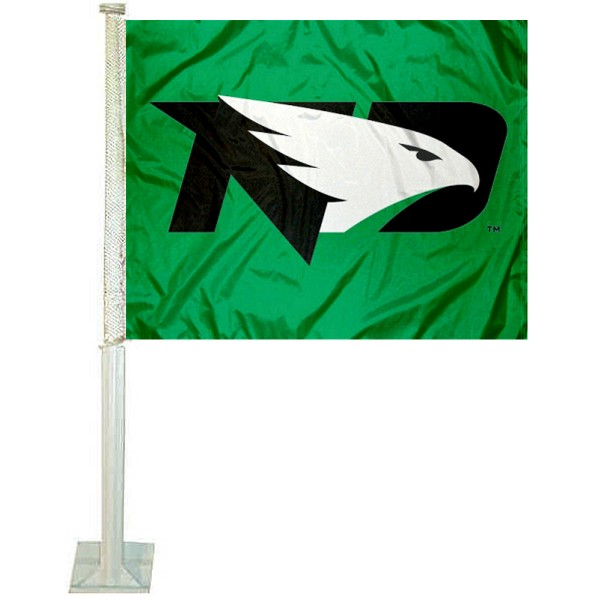 UND Fighting Hawks Car Window Flag measures 12x15 inches, is constructed of sturdy 2 ply polyester, and has screen printed school logos which are readable and viewable correctly on both sides. UND Fighting Hawks Car Window Flag is officially licensed by the NCAA and selected university.