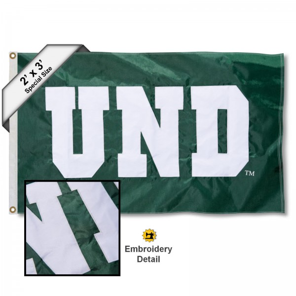 UND Fighting Hawks Small 2'x3' Flag measures 2x3 feet, is made of 100% nylon, offers quadruple stitched flyends, has two brass grommets, and offers embroidered UND Fighting Hawks logos, letters, and insignias. Our 2x3 foot flag is Officially Licensed by the selected university.